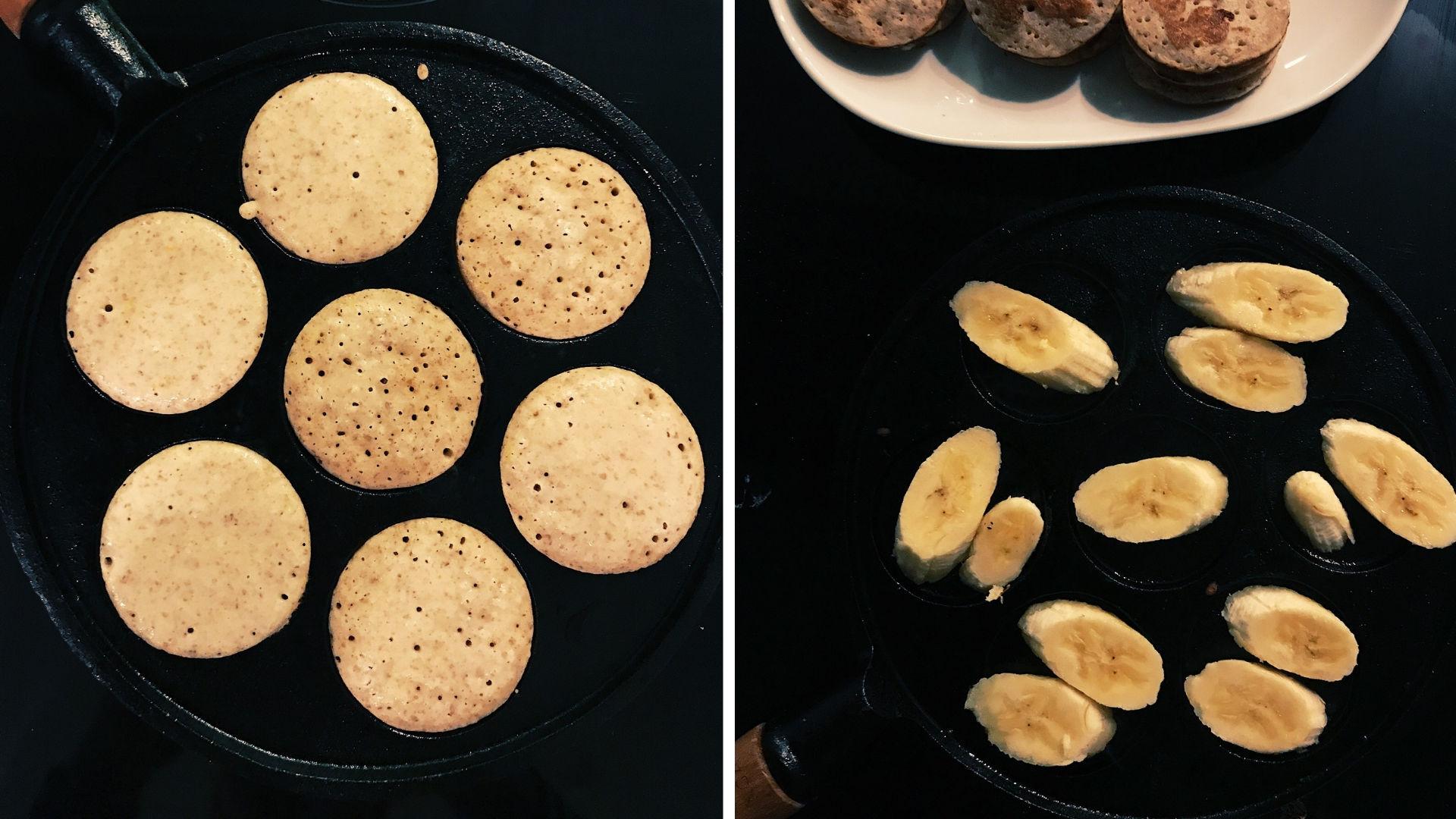 Bezlepkové lievance skaramelizovaným banánom